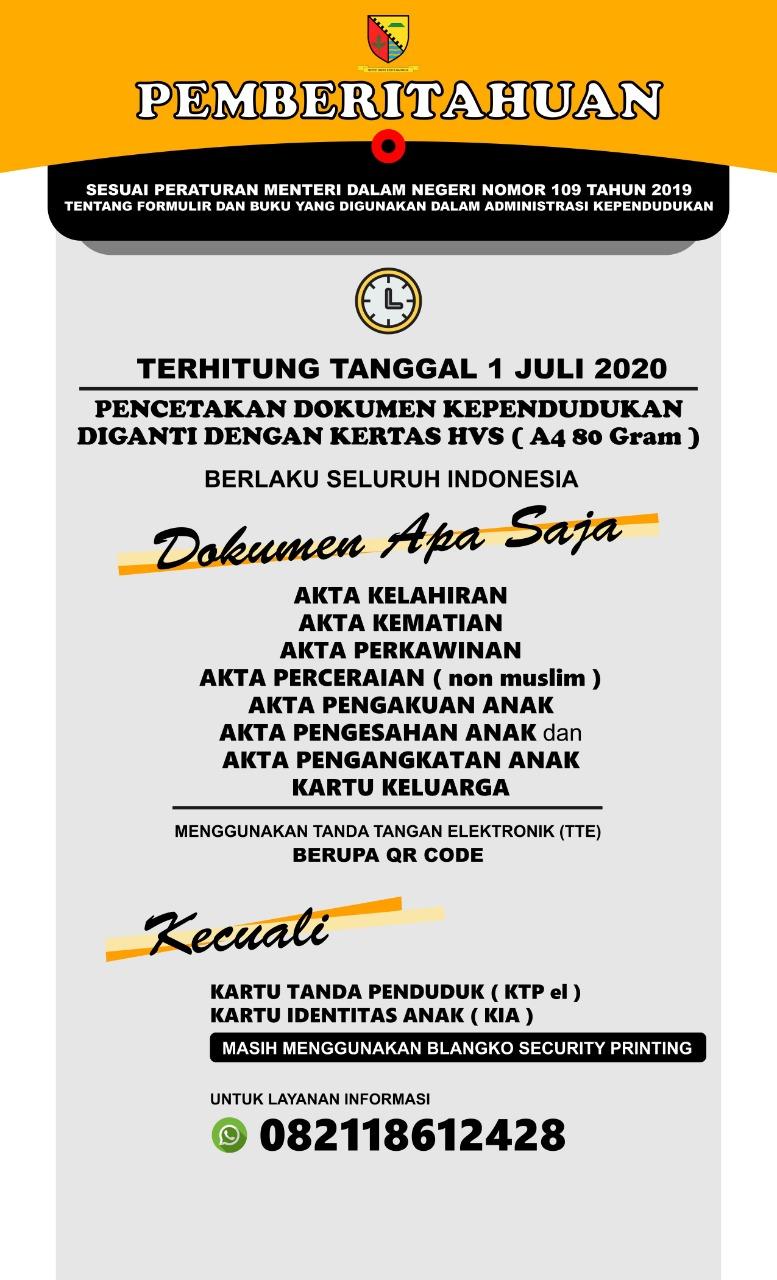 Terhitung Tanggal 1 Juli 2020 Dukcapil Bandung Resmi Pencetakan Dokumen Mengunakan Kertas HVS A4 80 gram