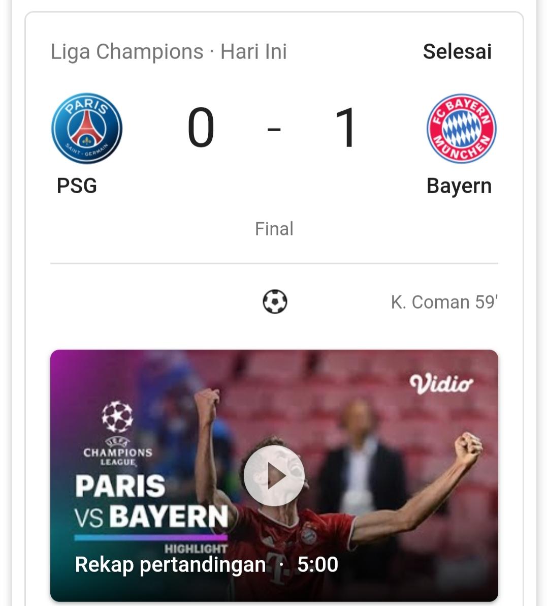 Bayern Munchen menang 1-0 atas PSG dan mengantarkannya menjadi juara Liga Champions 2019/2020