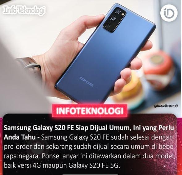 Samsung S20 FE Siap di Jual Umum versi 4G maupun 5G