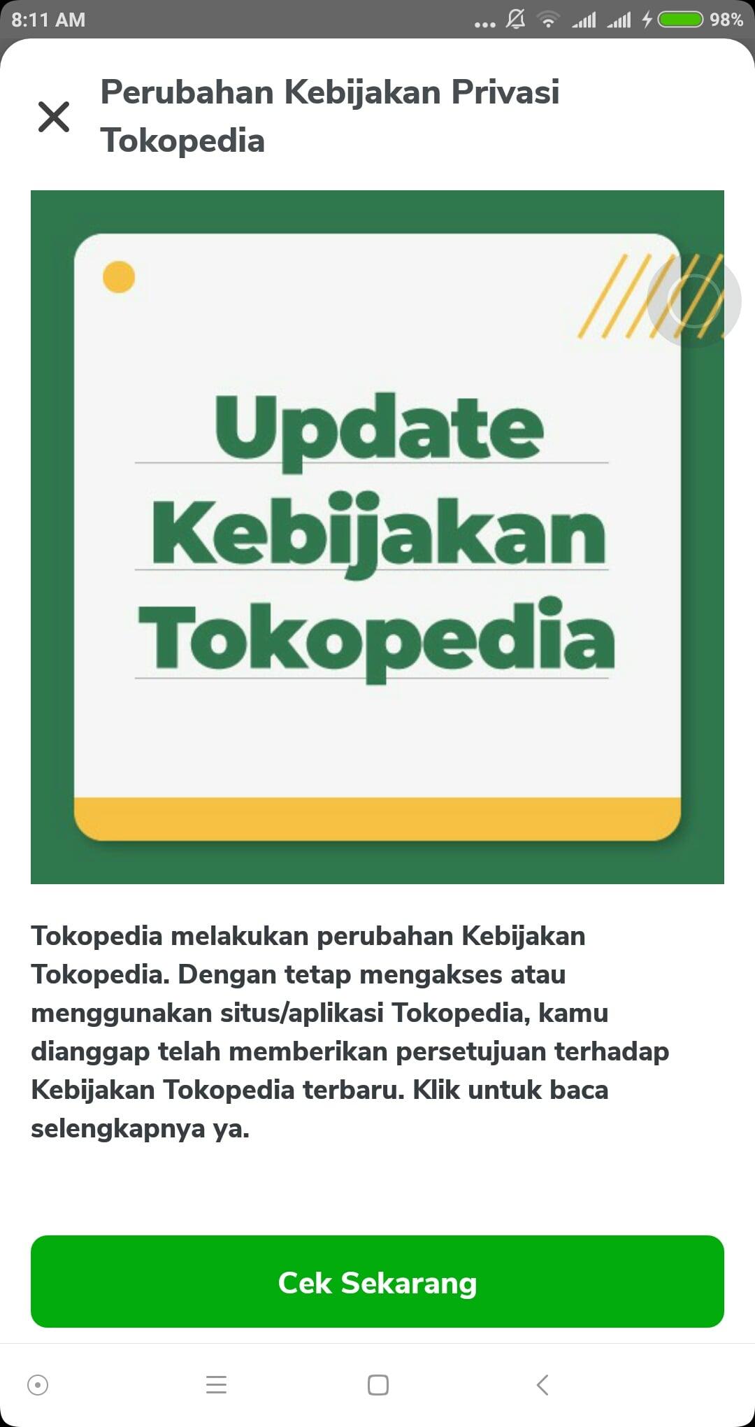 Kebijakan baru Tokopedia.
