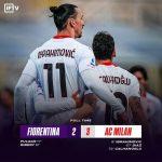 AC Milansecara dramatis mampu memetik kemenangan atas tuan rumah Fiorentina dengan skor tipis 2-3 – Pekan ke 28
