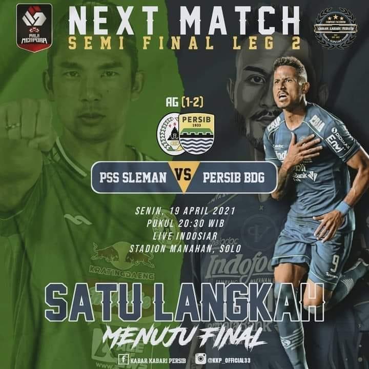 live streaming Semifinal LEG Ke 2 PSS Sleman vs Persib Bandung