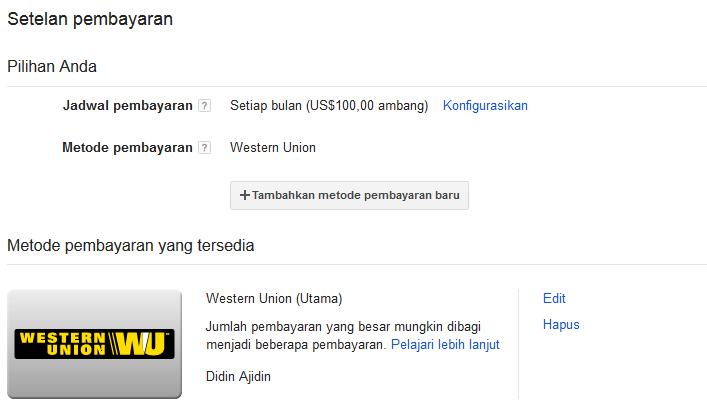 Cara MENCAIRKAN Pendapatan GOOGLE ADSENSE Melalui Western Union