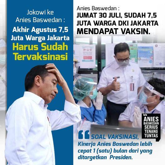 Gubernur Anies Baswedan Serius Tenang Tuntas melampaui target vaksinasi.