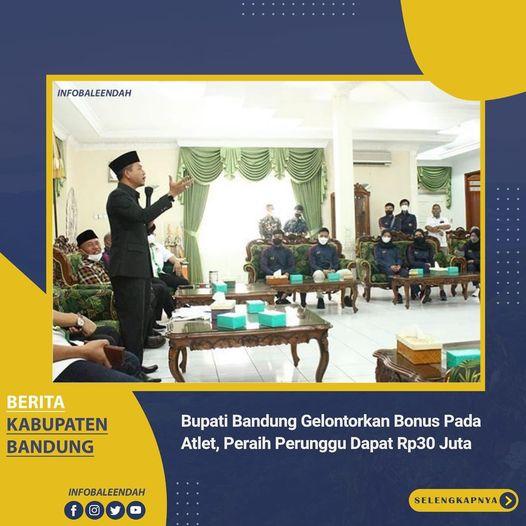 """Pemerintah Kabupaten Bandung memberi apresiasi berupa uang bonus alias """"kadeudeuh"""" pada atlet PON JABAR"""