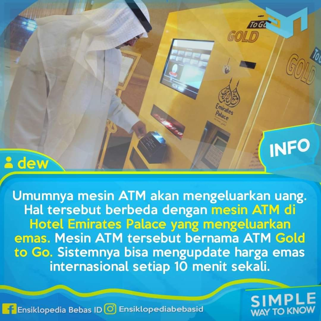 ATM emas yang berada di loby hotel Emirates
