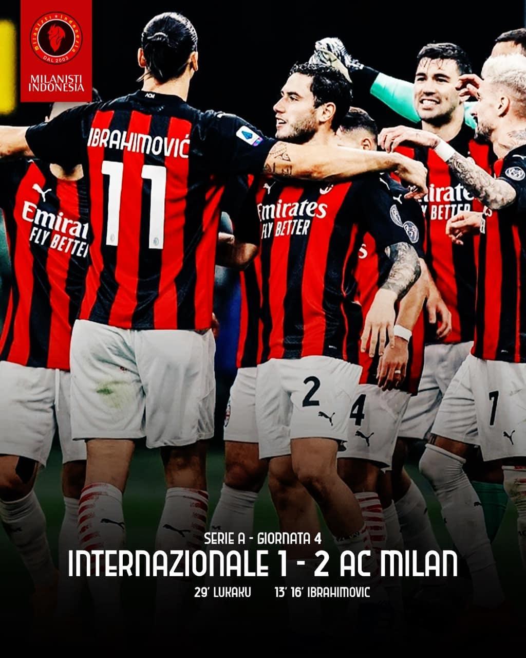 Hasil Liga Italia: Milan Menang 2-1 atas Inter