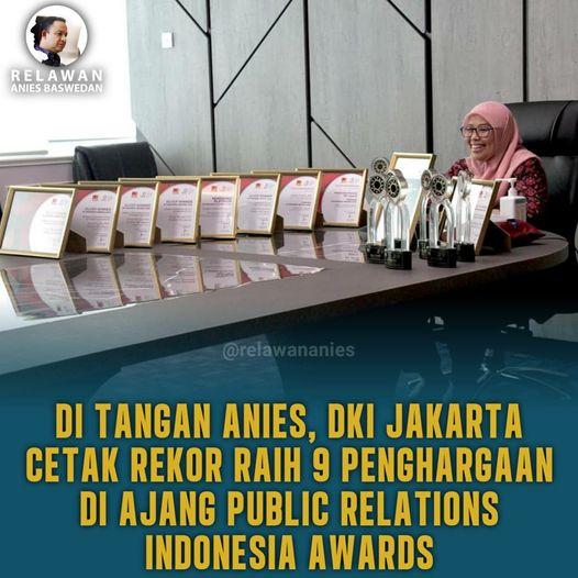 DKI Jakarta meraih 9 Penghargaan dalam ajang Anugerah Public Relations Indonesia Awards (PRIA) 2020