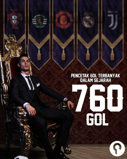 """Cristiano Ronaldo mencatatkan rekor sebagai """"pencetak gol terbanyak sepanjang sejarah sepak bola""""."""