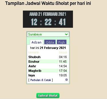 Menampilkan Jadwal Sholat di blog atau website Anda