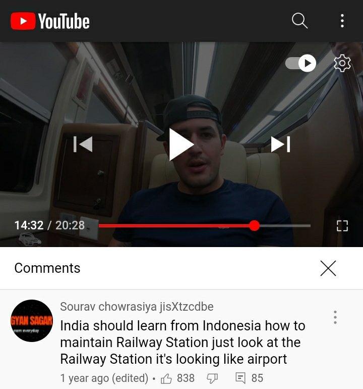 Netizen India Komentari Review Vlog Kereta Api RI: Stasiunnya Rasa Bandara