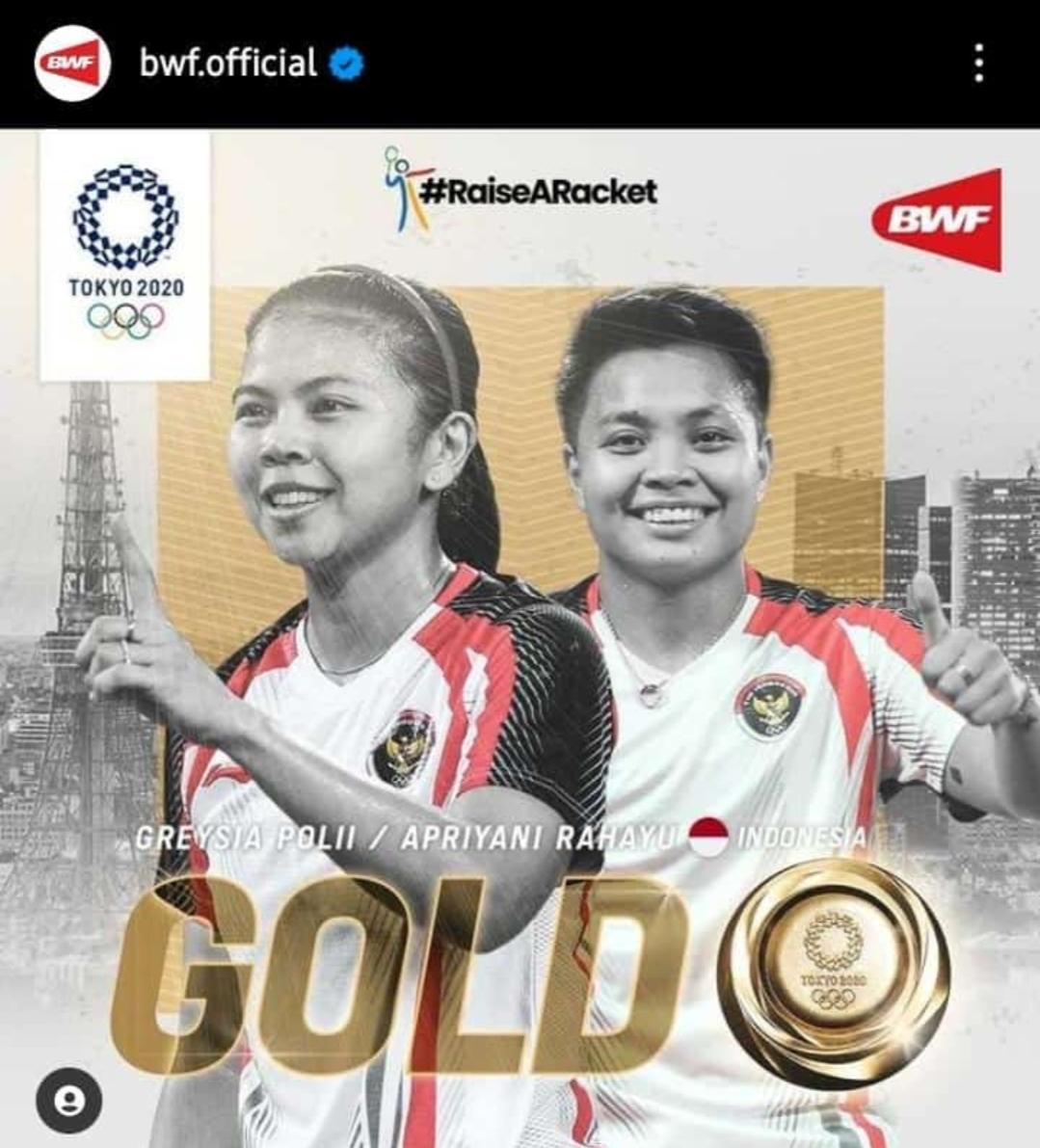 Pasangan ganda putri Indonesia Greysia Polii/Apriyani Rahayu berhasil mendapatkan Medali Emas Olimpiade Tokyo2020
