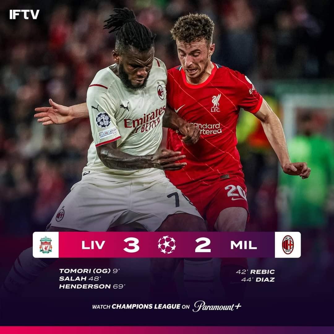 Hasil UCL Liverpool 3 – 2 Milan | Pertemuan 1 UCL 2021/2022